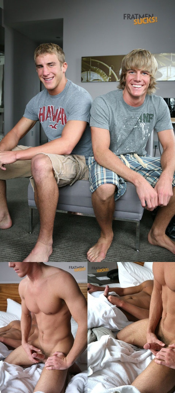 Fratmen Sucks two hot jocks Fratmen Ross and Fratmen Trey jerk their cocks until they both cum 1 download full movie torrents and gay porn photo gallery 11 - Fratmen Sucks: Ross and Trey two hot jocks exchange blowjobs