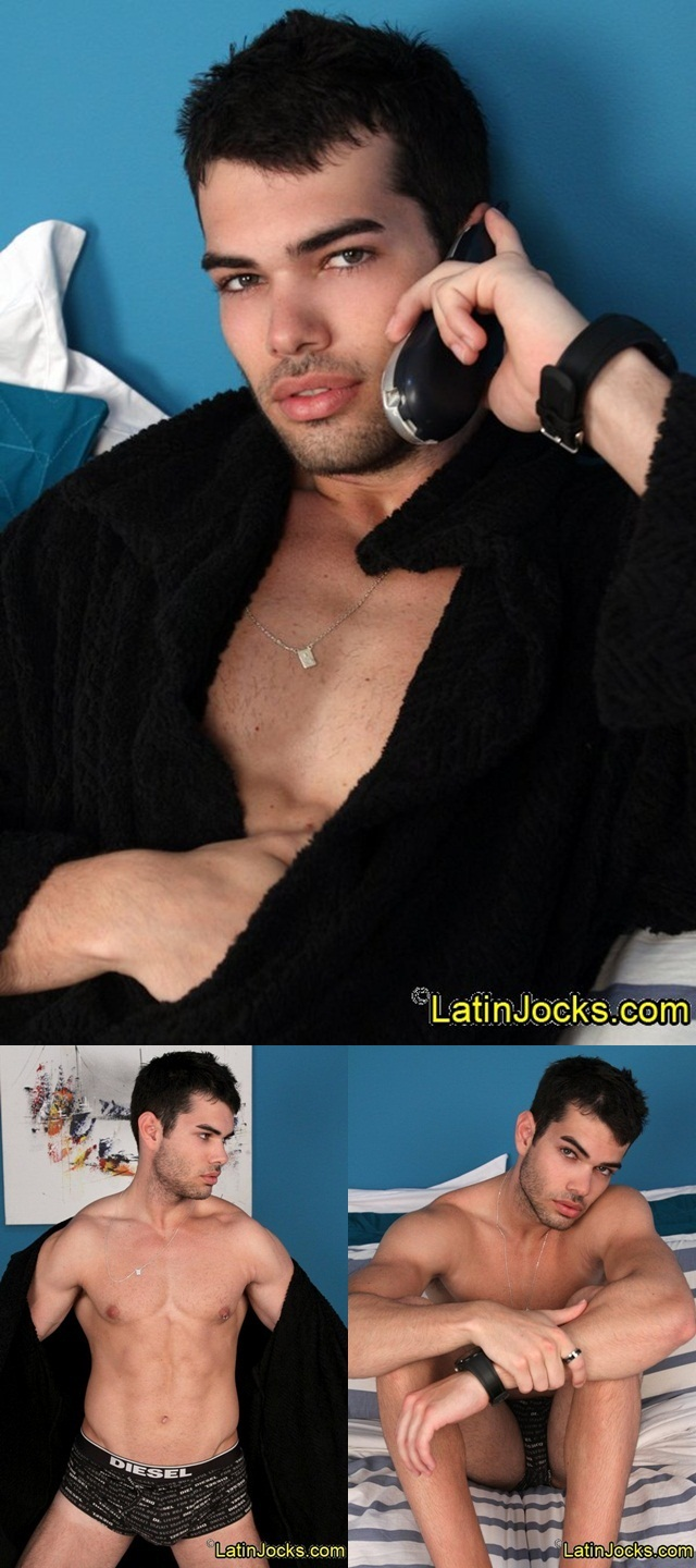 Naked Latin Jock super hot 21yro Leo with dark looks and eyes jerks his huge cock 001 Download Full Gay Porn Gallery here 11 - Latin Jocks: Smoldering dark eyed Leo