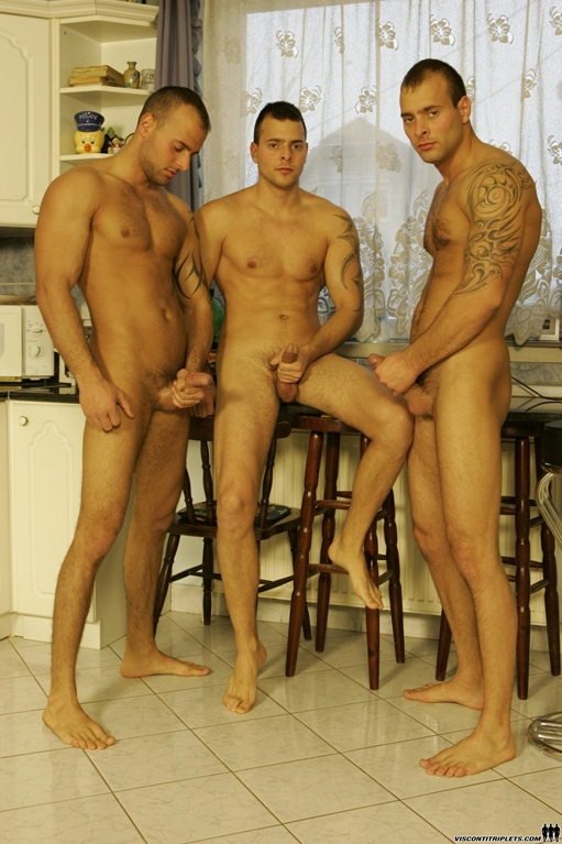 Viconti Triplets trio gay porn orgy001 Young nude Boy Twink Strips Naked and Strokes His Big Hard Cock for at photo1 - Visconti Triplets and Joe Justice in hot triplet orgy!