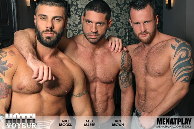 Alex Marte Ben Brown and Axel Brooks in Hotel Voyeur at Men at Play 1 Ripped Muscle Bodybuilder Strips Naked and Strokes His Big Hard Cock photo1 - Alex Marte, Ben Brown and Axel Brooks in Hotel Voyeur at Men at Play