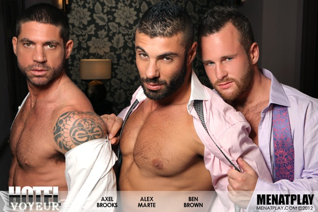 Alex Marte Ben Brown and Axel Brooks in Hotel Voyeur at Men at Play 8 Ripped Muscle Bodybuilder Strips Naked and Strokes His Big Hard Cock photo1 - Alex Marte, Ben Brown and Axel Brooks in Hotel Voyeur at Men at Play