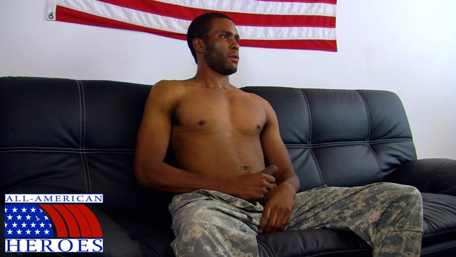Black military man Private Robert camouflage pants cums All American Heroes 01 Ripped Muscle Bodybuilder Strips Naked and Strokes His Big Hard Cock torrent photo - All American Heroes - Black military man Private Robert drops his camos and unloads!