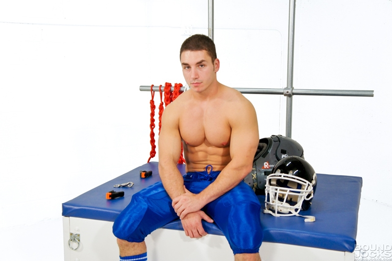 BoundJocks Bound gagged muscle jock Marc Dylan football uniform hogtied bdsm Knotty Brent suck giant dick blowjob 001 tube video gay porn gallery sexpics photo - Knotty Brent abuses bound and gagged Marc Dylan