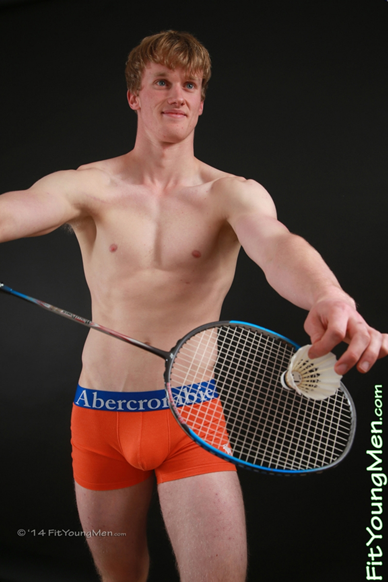 FitYoungMen Oscar Whitelaw Badminton Age 20 years old naked straight sportsmen big uncut dicks crotch bulge 001 tube video gay porn gallery sexpics photo - Oscar Whitelaw strips down to his well filled underwear