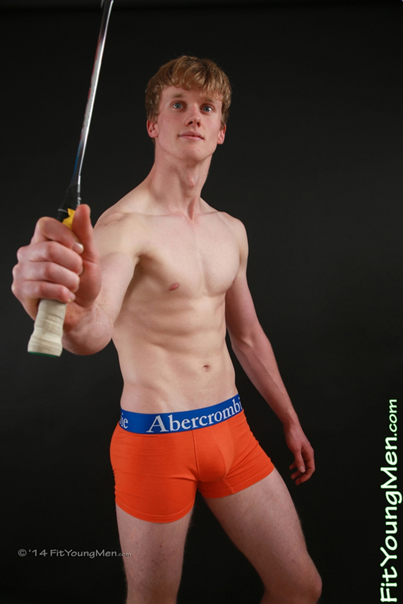 FitYoungMen Oscar Whitelaw Badminton Age 20 years old naked straight sportsmen big uncut dicks crotch bulge 003 tube video gay porn gallery sexpics photo - Oscar Whitelaw strips down to his well filled underwear