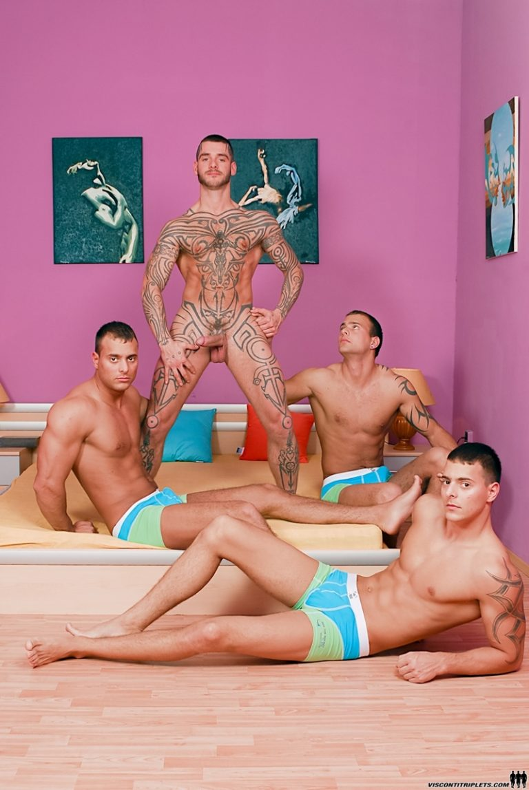 ViscontiTriplets Visconti Triplets handsome Joey Jimmy Jason tattooed Logan McCree eating dicks double dildo threesome brother 002 gay porn video porno nude movies pics porn star sex photo 768x1148 - Joey Visconti, Logan McCree, Jason Visconti and Jimmy Visconti