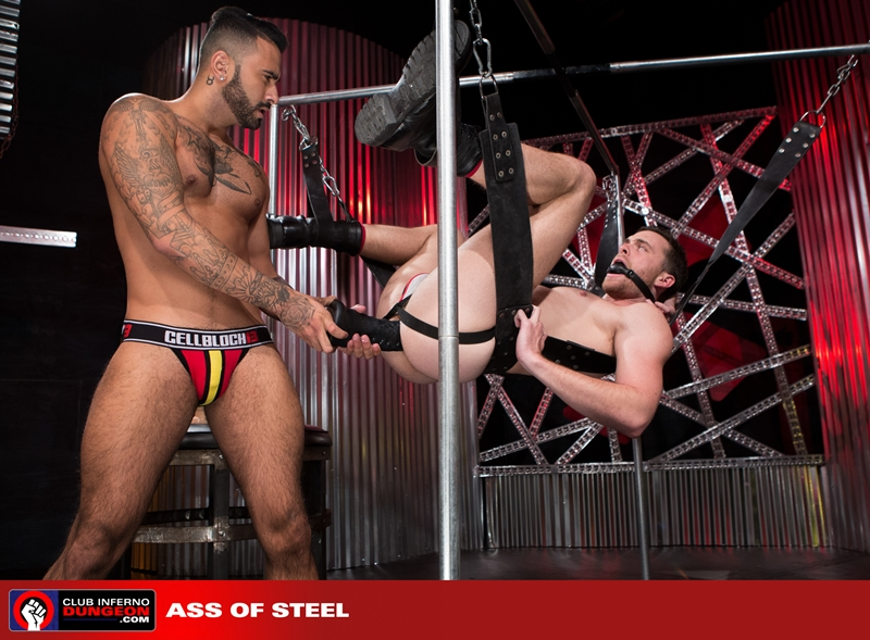 ClubInfernoDungeon Brandon Moore sling sexy Rikk York sex toy lube massage strokes ass man hole stretched ball gag fisting bottom 001 gay porn video porno nude movies pics porn star sex photo - Rikk York kisses Brandon Moore for being such an amazing fisting bottom