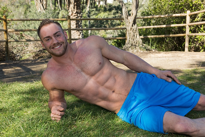 SeanCody Sexy bearded muscle hunk Brock strips naked ripped abs v shaped chest huge dick bouncing Jerking hard erect cum shots 001 gay porn video porno nude movies pics porn star sex photo - Muscle tattooed bearded hunk Sean Cody Brock jerks out a huge cum load