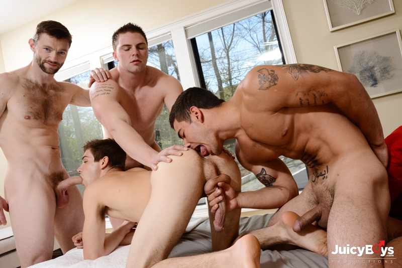 JuicyBoys gang bang orgy Johnny Rapid double fucked Dennis West Jake Wilder Vadim Black thick cocks hole bare cock cocksucking 01 gay porn star sex video gallery photo - Johnny Rapid double fucked by Dennis West, Vadim Black and Jake Wilder