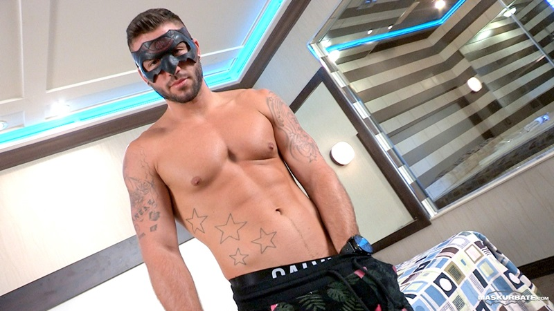 Maskurbate Young latin stud Junior Hot smooth muscular jock ripped body tattoos big thick uncut cock good looking face balls 01 gay porn star sex video gallery photo - Young Junior appeared confident and charismatic in his first gay porn shoot