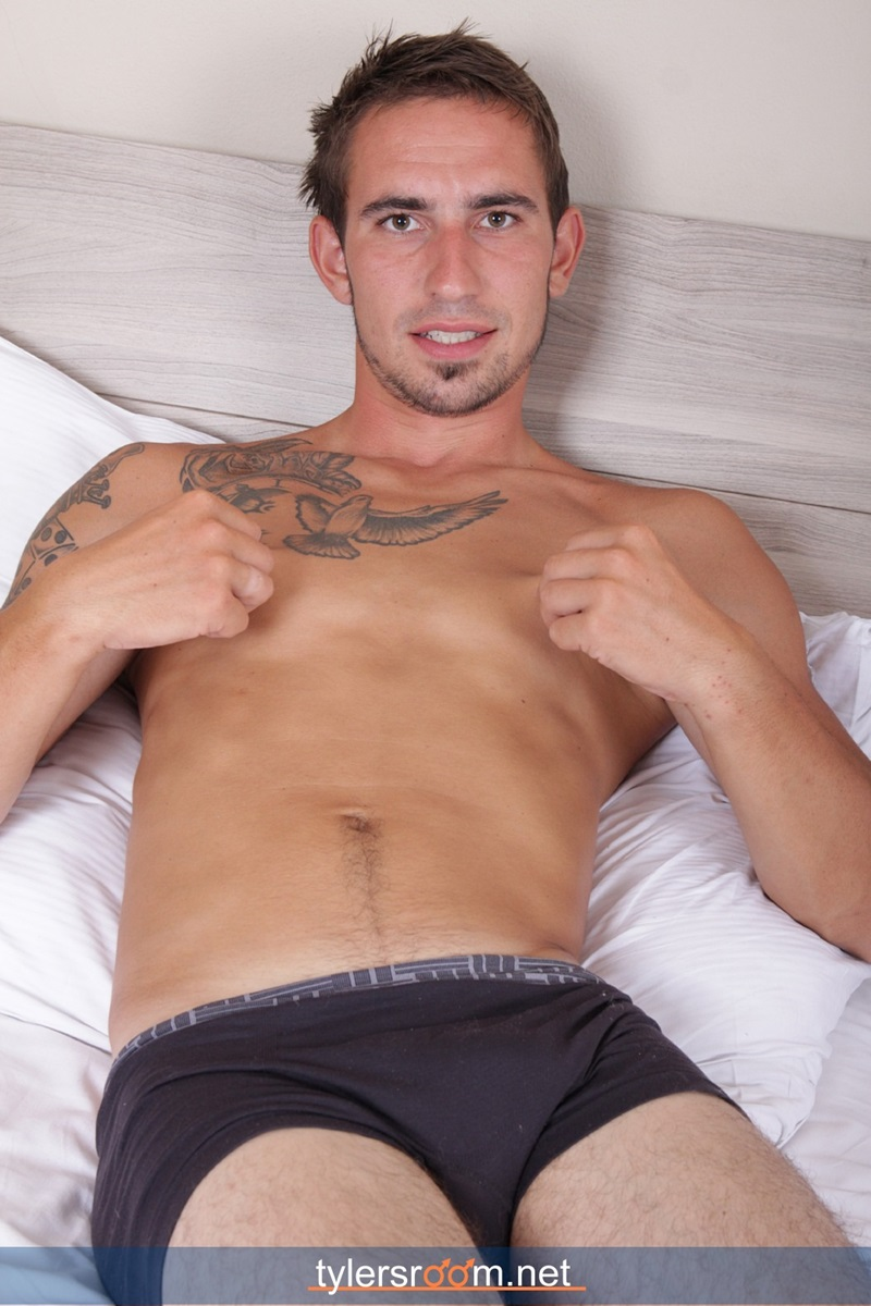 TylersRoom naked young man Sexy 27 year old Chris Reed tattooed ripped toned body big uncut cock jerking muscle hunk 01 gay porn star sex video gallery photo - 27 year old Chris Reed shows off his tattooed toned body jerks his big uncut cock