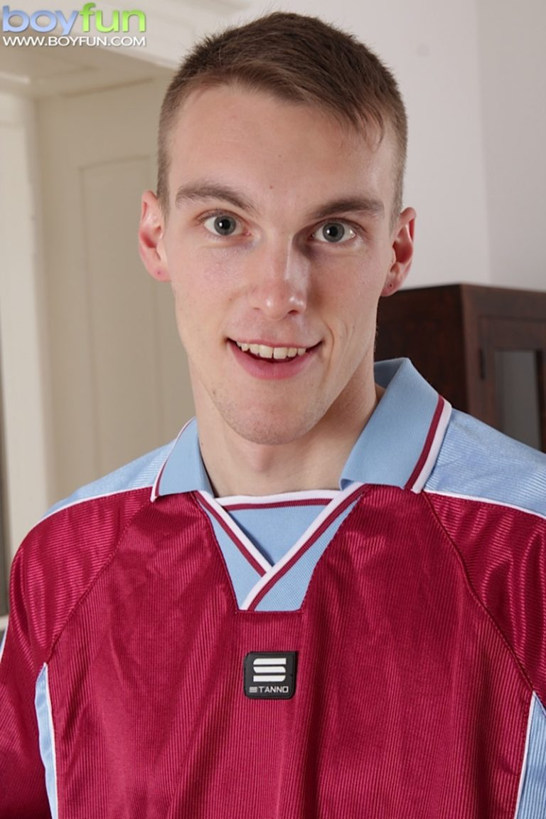 BoyFun young naked soccer player Mike James stroking hard thick twink cock huge boys cumming soccer kit footie strip jerking 002 gay porn sex gallery pics video photo 768x1151 - Soccer player Mike James stroking his hard cock