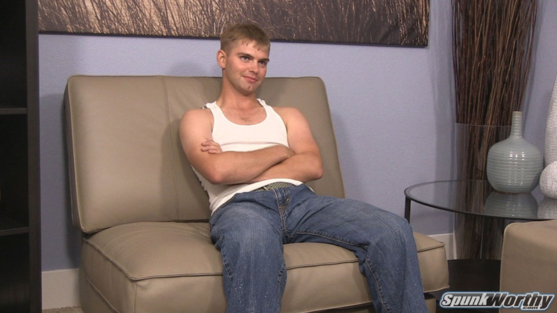 Spunkworthy blonde haired 20 year old Marc thick seven 7 inch dick sexy young man low hanging balls wanking huge cumshot solo jerk off 002 gay porn sex gallery pics video photo - Spunk Worthy's 20 year old Marc jerks his thick dick to a huge straight man cumshot