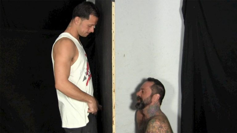 StraightFraternity Victor strips nude glory hole muscular body big thick long uncut dick cocksucking cock sucker young man sucked dry 002 gay porn sex gallery pics video photo 768x432 - Victor moans loudly as he gets his veiny, uncut cock sucked dry