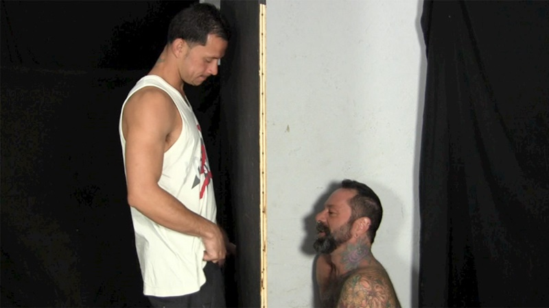 StraightFraternity Victor strips nude glory hole muscular body big thick long uncut dick cocksucking cock sucker young man sucked dry 002 gay porn sex gallery pics video photo - Victor moans loudly as he gets his veiny, uncut cock sucked dry