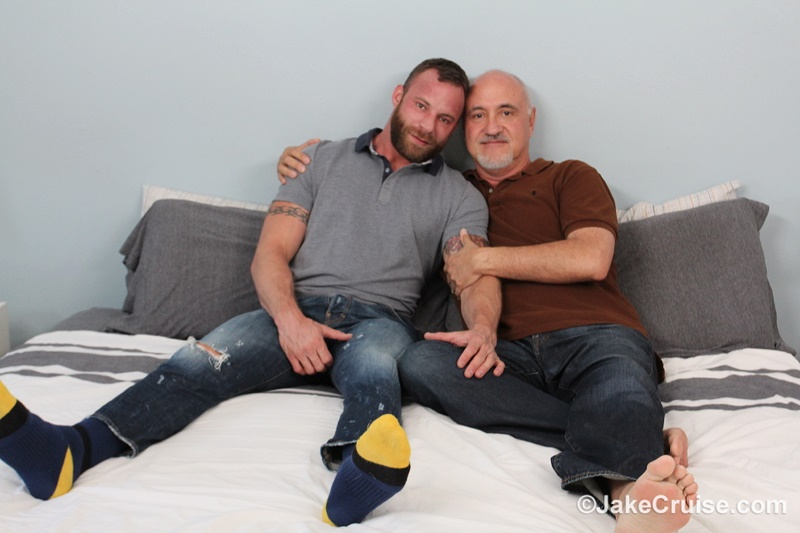 JakeCruise sexy naked muscle tattoo stud Derek Parker Cocksure Men sucked big thick dick cocksucker older mature jake cruise anal rimming 002 gay porn sex gallery pics video photo - Tattooed hairy chested muscle hunk Derek Parker's huge dick serviced by Jake Cruise