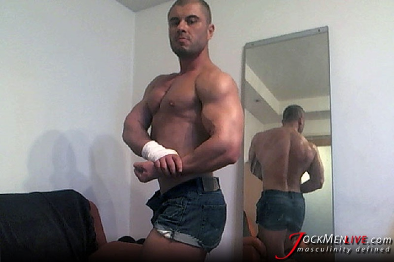 JockMenLive ripped shredded raw massive muscle men Emilio jock men live webcam chat big thick cock sexy bubble butt 002 gay porn sex gallery pics video photo - Jock Men Live ripped abs masculine vascular Emilio shows off the lot and more