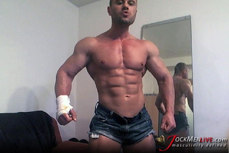 JockMenLive ripped shredded raw massive muscle men Emilio jock men live webcam chat big thick cock sexy bubble butt 003 gay porn sex gallery pics video photo - Jock Men Live ripped abs masculine vascular Emilio shows off the lot and more