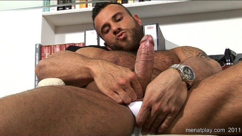 MenatPlay big muscle hunk Gianluigi rock hard muscles stroking nig uncut dick hairy chest solo jerkoff ripped six pack abs 001 gay porn sex gallery pics video photo - Men at Play - One to One with Gianluigi