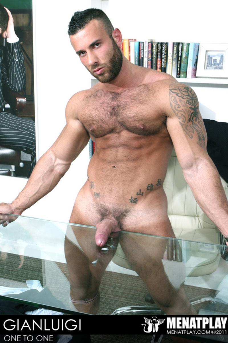 MenatPlay big muscle hunk Gianluigi rock hard muscles stroking nig uncut dick hairy chest solo jerkoff ripped six pack abs 004 gay porn sex gallery pics video photo - Men at Play - One to One with Gianluigi