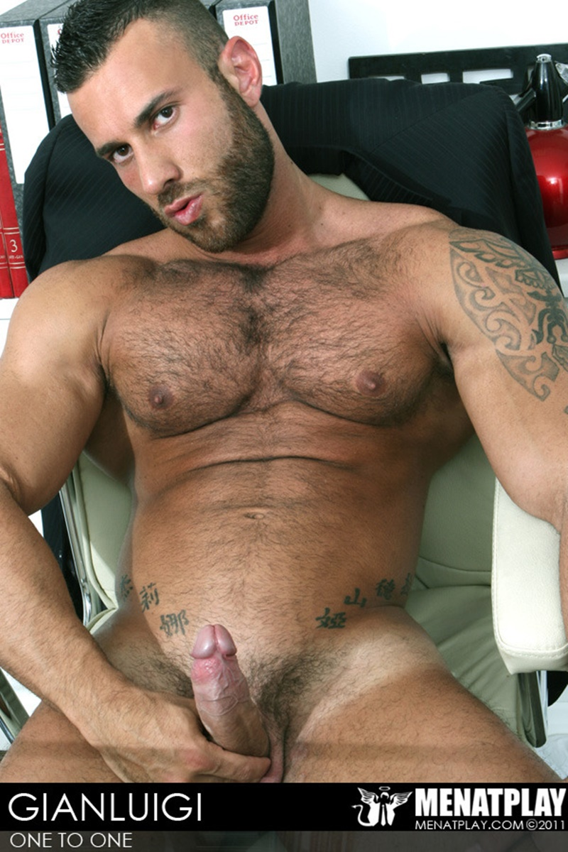 MenatPlay big muscle hunk Gianluigi rock hard muscles stroking nig uncut dick hairy chest solo jerkoff ripped six pack abs 006 gay porn sex gallery pics video photo - Men at Play - One to One with Gianluigi