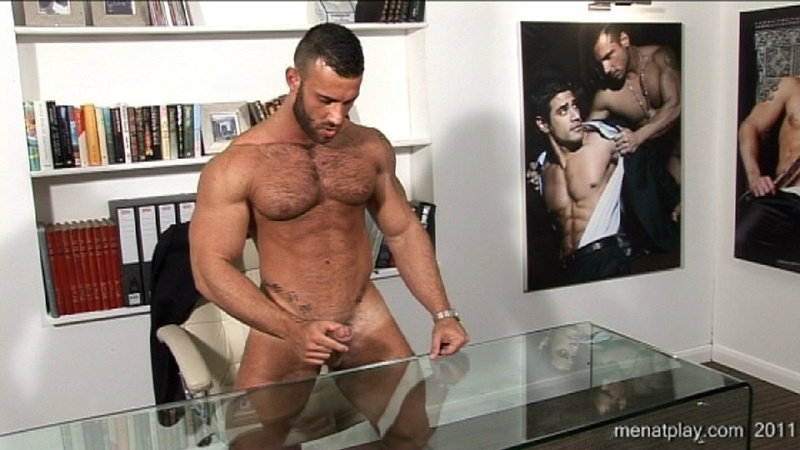 MenatPlay big muscle hunk Gianluigi rock hard muscles stroking nig uncut dick hairy chest solo jerkoff ripped six pack abs 023 gay porn sex gallery pics video photo - Men at Play - One to One with Gianluigi