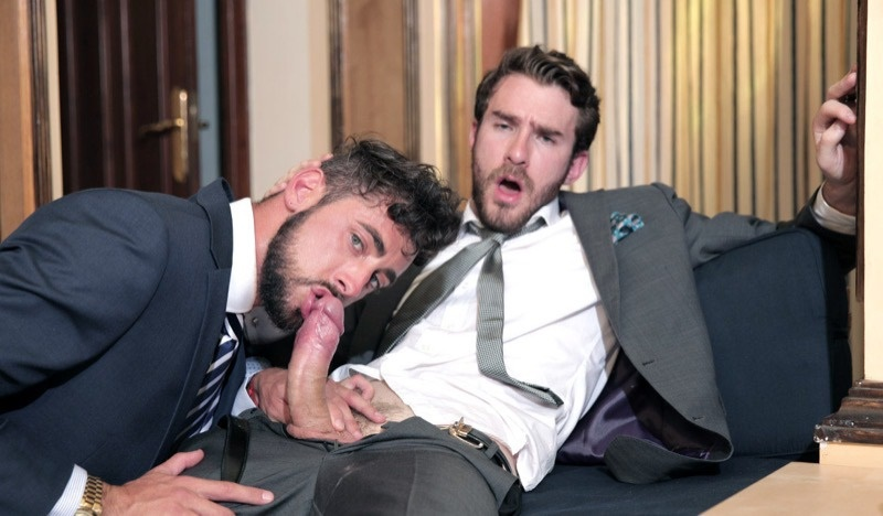 MenatPlay hairy chest nipple piercing Philip Zyos Massimo Piano big muscle men sex business suits big thick cocks 001 gay porn sex gallery pics video photo - Men at Play wrong place, right time Philip Zyos fucks Massimo Piano's tight muscle ass