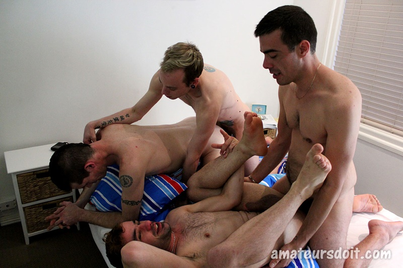 AmateursDoIt sexy naked amateur guys fucking orgy Harvey Hunter all fours Leo Levi fuck smooth ass cocksuckers anal rimming fucking 001 gay porn sex gallery pics video photo - Amateurs Do It Harvey and Hunter on all fours as Leo and Levi fuck their fine asses