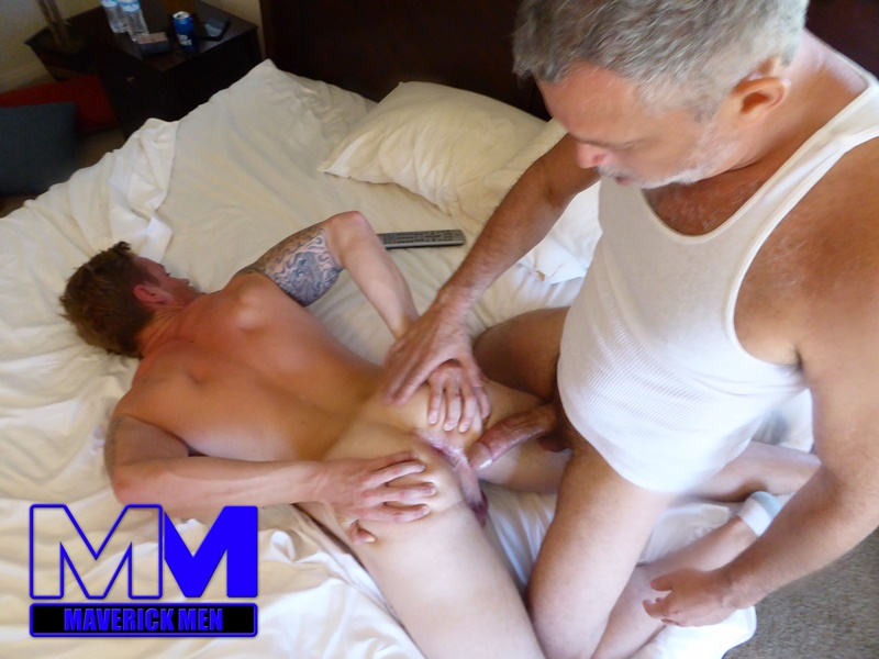 MaverickMen older naked mature gay guy Sean fucks straight man Dax cum asshole jizz bareback ass fucking anal rimming 001 gay porn sex gallery pics video photo - Maverick Men lunge, squat, fuck
