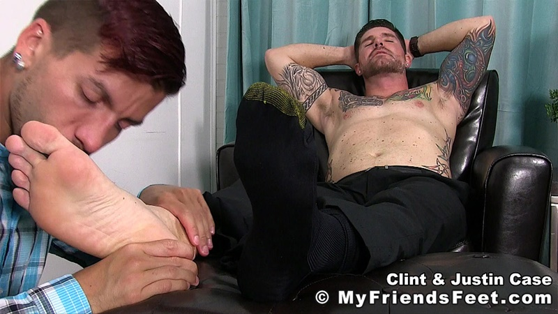 MyFriendsFeet foot fetish young guys socks Justin Case Clint bare foot worshiping huge size 13 shoes feet fetishist 001 gay porn sex gallery pics video photo - My Friends Feet Justin Case on his knees massaging and sniffing Clint's dress socked feet