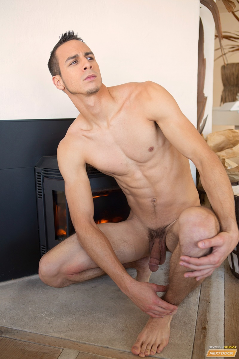 NextDoorMale sexy naked young guy Cooper Adams hairy legs smooth ripped six pack abs big thick long dick jerking solo cumshot 005 gay porn sex gallery pics video photo - Sexy young lad Cooper Adams strips naked and jerks his huge dick to a massive cumshot