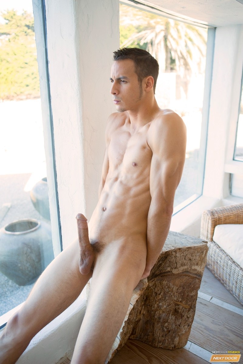 NextDoorMale sexy naked young guy Cooper Adams hairy legs smooth ripped six pack abs big thick long dick jerking solo cumshot 011 gay porn sex gallery pics video photo - Sexy young lad Cooper Adams strips naked and jerks his huge dick to a massive cumshot