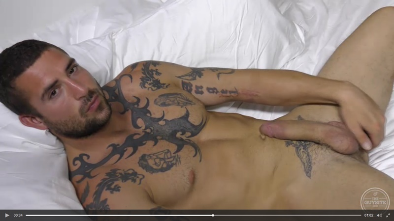 TheGuySite sexy tattooed naked muscle hunk Derek Thibeau jerks long thick dick cumshot tattoo muscled stud ripped six pack abs 015 gay porn sex gallery pics video photo - The Guy Site sexy tattooed muscle hunk Derek Thibeau jerks his long thick dick