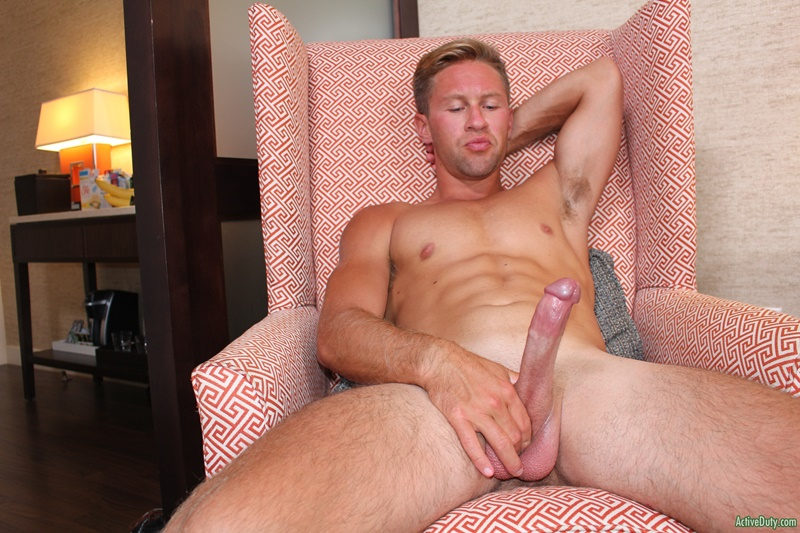 ActiveDuty sexy naked army boy military young man Tristan large big cock solo jerk off masturbating dude tanned muscle hunk 001 gay porn sex gallery pics video photo - Active Duty Tristan's cock is so long, he can barely get his grip around the whole thing