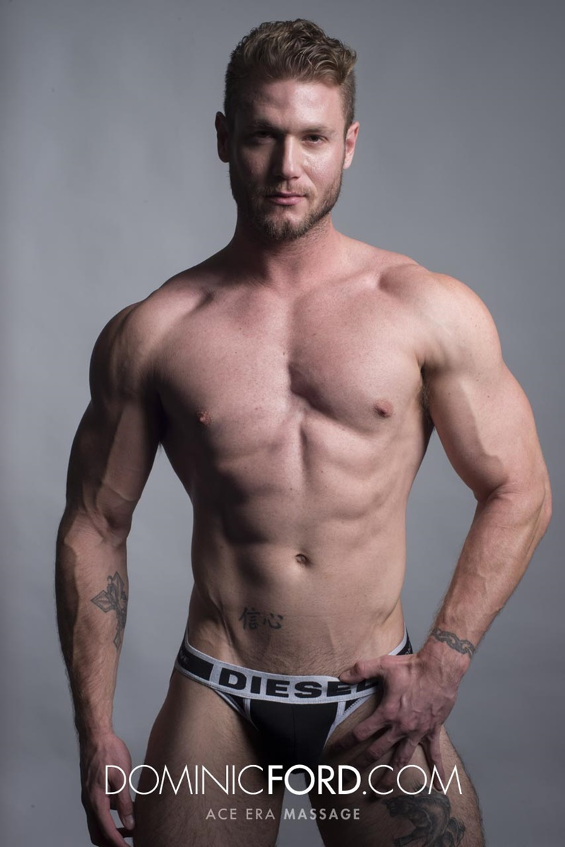 DominicFord sexy naked young muscle ripped dude Ace Era massage big thick large cock huge jizz cumshot six pack abs hairy beard 012 gay porn sex gallery pics video photo - Dominic Ford it ends with Ace Era's exploding cum shot all over his chiseled abs