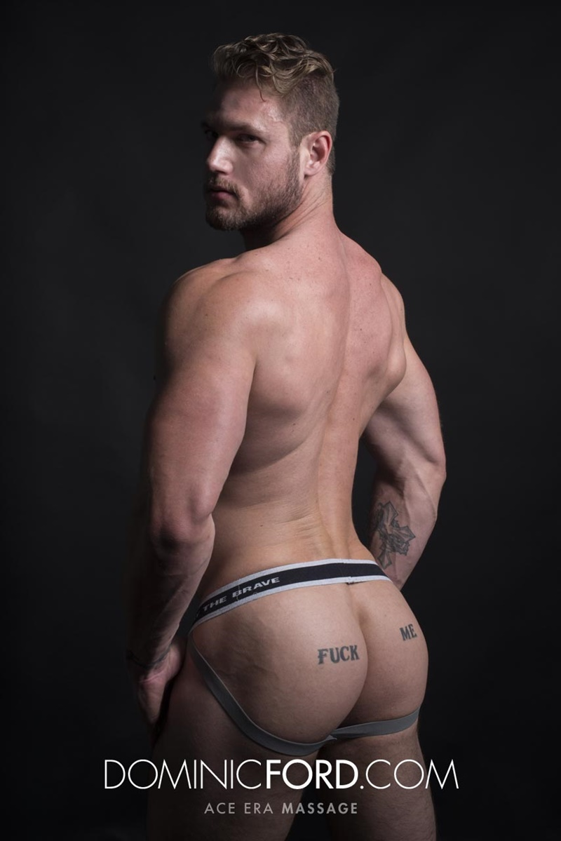 DominicFord sexy naked young muscle ripped dude Ace Era massage big thick large cock huge jizz cumshot six pack abs hairy beard 014 gay porn sex gallery pics video photo - Dominic Ford it ends with Ace Era's exploding cum shot all over his chiseled abs