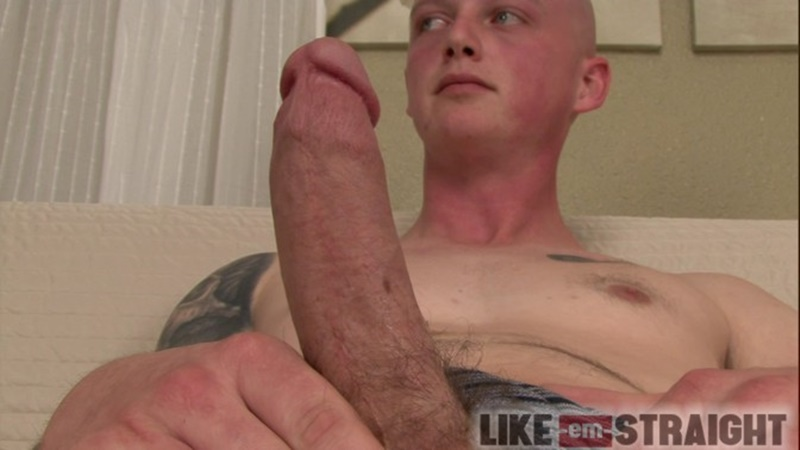 LikeEmStraight straight young naked dude Brendon lubes strokes dude Ted big thick large cock cumshot jizz orgasm 004 gay porn sex gallery pics video photo - Brendon lubes and strokes straight dude Ted's beautiful straight cock to orgasm
