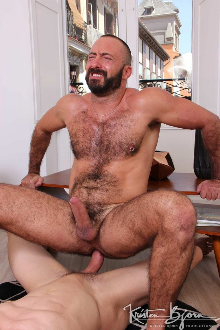 KristenBjorn huge tattoo muscle men Xavi Garcia Ivan Gregory fat big long cock hot hairy raw hole bareback fucking anal rimming 002 gay porn sex gallery pics video photo 768x1152 - Xavi Garcia lay on his back spreads his legs open as Ivan Gregory plunges his fat cock deep inside of that hot hairy raw hole