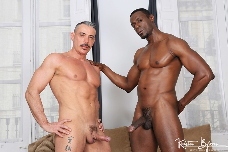 KristenBjorn interracial gay porn sex black muscle stud Titan Tex white muscled dude Marc Ferrer bareback anal ass fucking rim job 002 gay porn sex gallery pics video photo - Titan Tex rams his massive cock deep and raw inside of Marc Ferrer's hungry ass