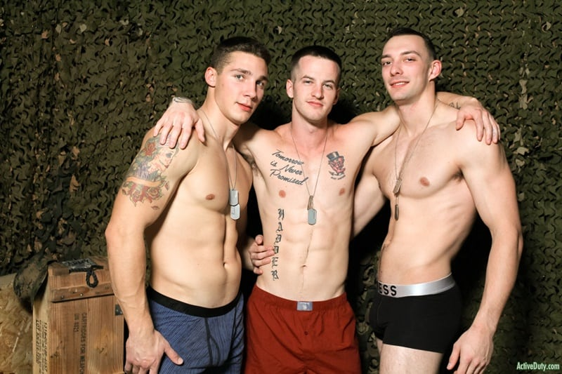 ActiveDuty gay porn hot threesome army boys military sex pics Johnny B Quentin Gainz Spencer Laval 001 gallery video photo - Hot threesome Johnny B's hot bubble butt ass fucked by Quentin Gainz and Spencer Laval's huge cocks