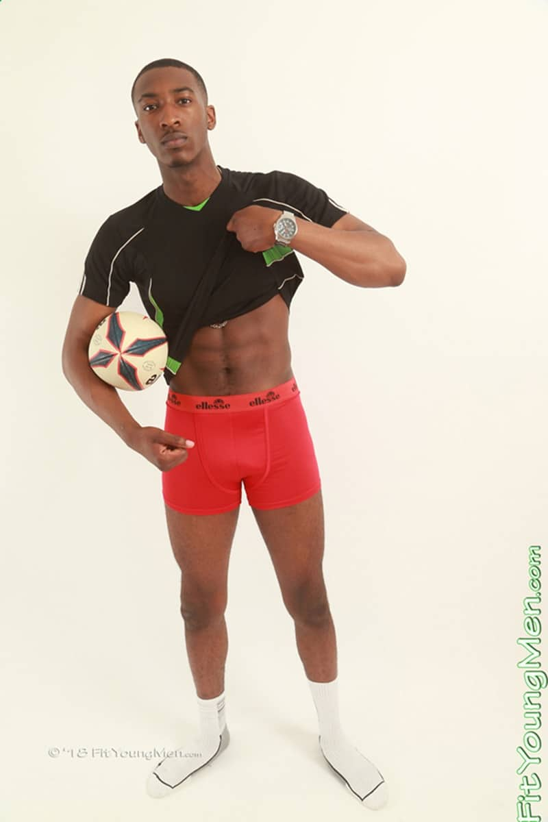 FitYoungMen Hot nude black sports dude Steve Hanson strips naked sexy underwear white socks jerks big black cock 002 gay porn sex gallery pics - Hot nude black sports dude Steve Hanson strips out of his sexy underwear and socks and jerks his big black cock