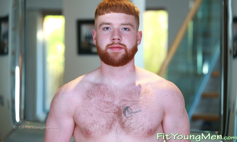 Gay Porn Pics 002 Red haired young hunk Jamie Allerton hairy chest cum filled balls FitYoungMen - Jamie Allerton