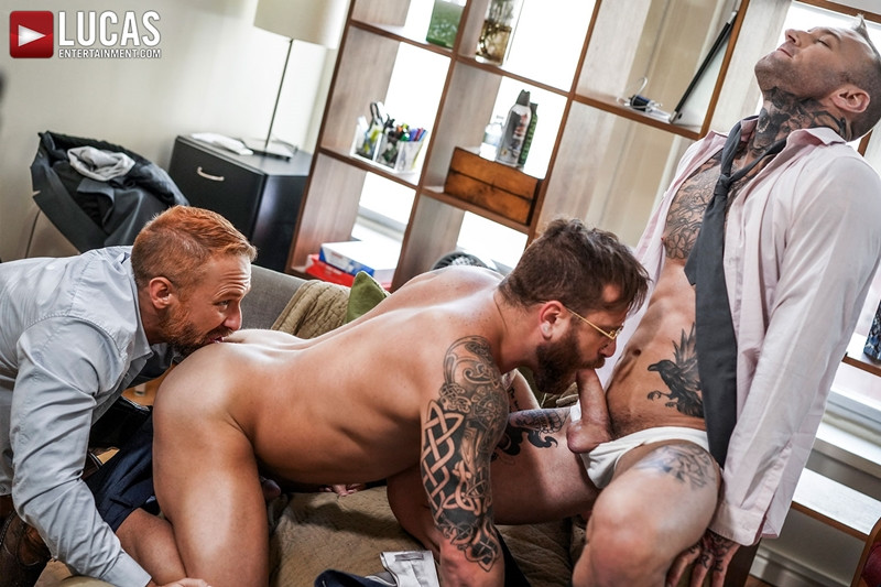 LucasEntertainment Hardcore muscle fucking threesome Dylan James Dirk Caber Riley Mitchel 002 Gay Porn Pics - Dylan James, Dirk Caber, Riley Mitchel