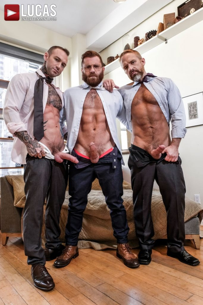 LucasEntertainment Hardcore muscle fucking threesome Dylan James Dirk Caber Riley Mitchel 006 Gay Porn Pics 683x1024 - Dylan James, Dirk Caber, Riley Mitchel