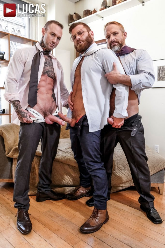 LucasEntertainment Hardcore muscle fucking threesome Dylan James Dirk Caber Riley Mitchel 007 Gay Porn Pics 683x1024 - Dylan James, Dirk Caber, Riley Mitchel