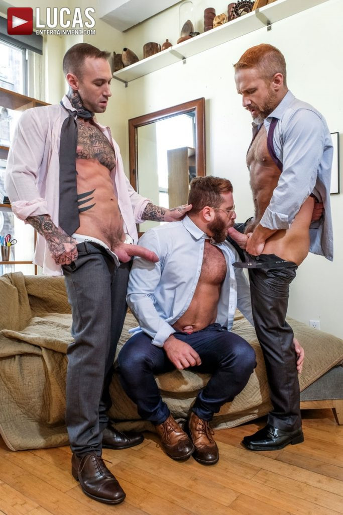 LucasEntertainment Hardcore muscle fucking threesome Dylan James Dirk Caber Riley Mitchel 008 Gay Porn Pics 683x1024 - Dylan James, Dirk Caber, Riley Mitchel