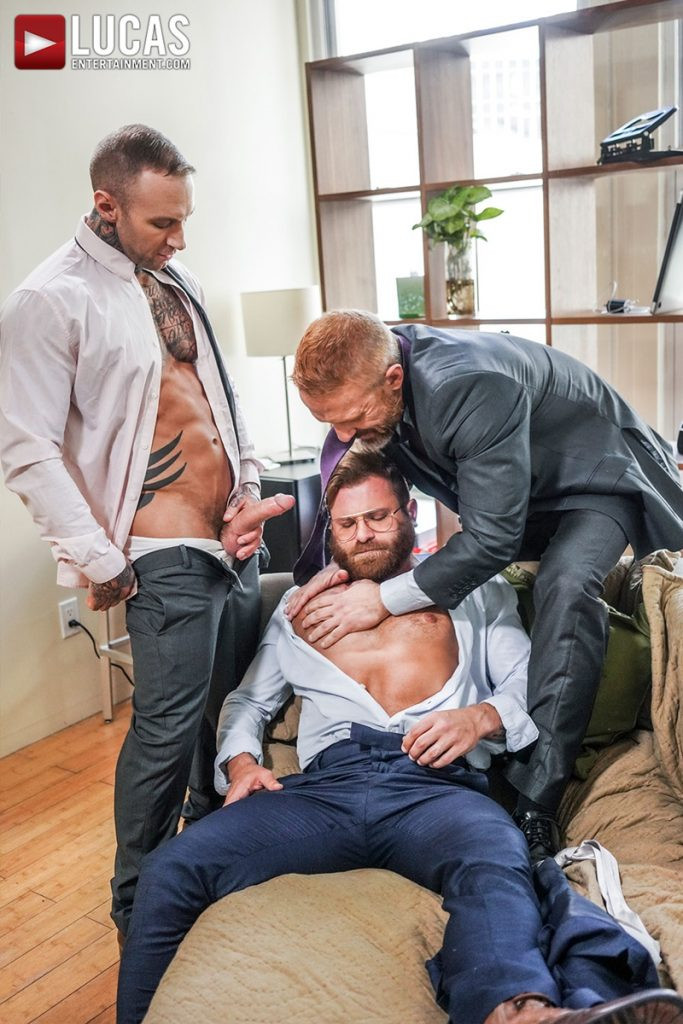 LucasEntertainment Hardcore muscle fucking threesome Dylan James Dirk Caber Riley Mitchel 009 Gay Porn Pics 683x1024 - Dylan James, Dirk Caber, Riley Mitchel