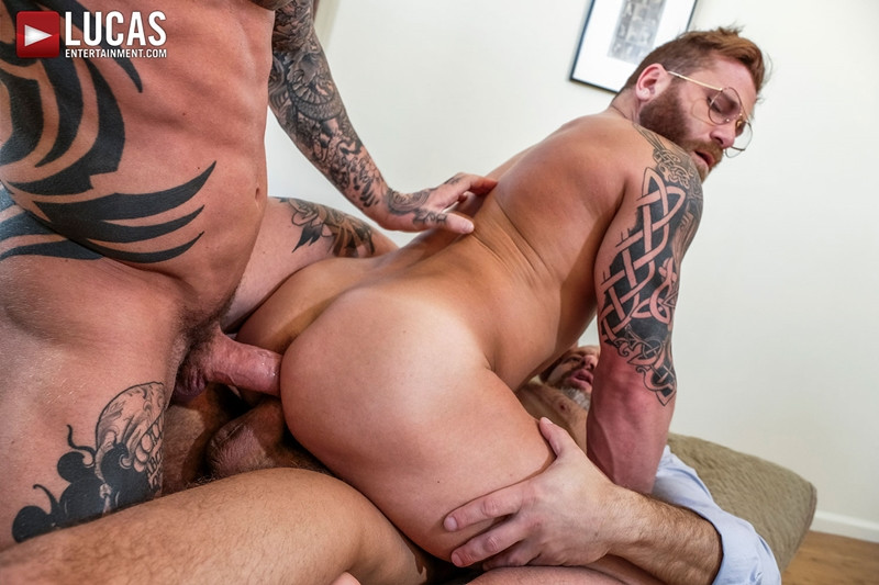 LucasEntertainment Hardcore muscle fucking threesome Dylan James Dirk Caber Riley Mitchel 021 Gay Porn Pics - Dylan James, Dirk Caber, Riley Mitchel