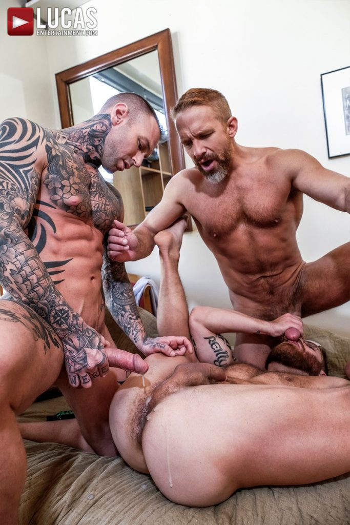 LucasEntertainment Hardcore muscle fucking threesome Dylan James Dirk Caber Riley Mitchel 028 Gay Porn Pics 683x1024 - Dylan James, Dirk Caber, Riley Mitchel