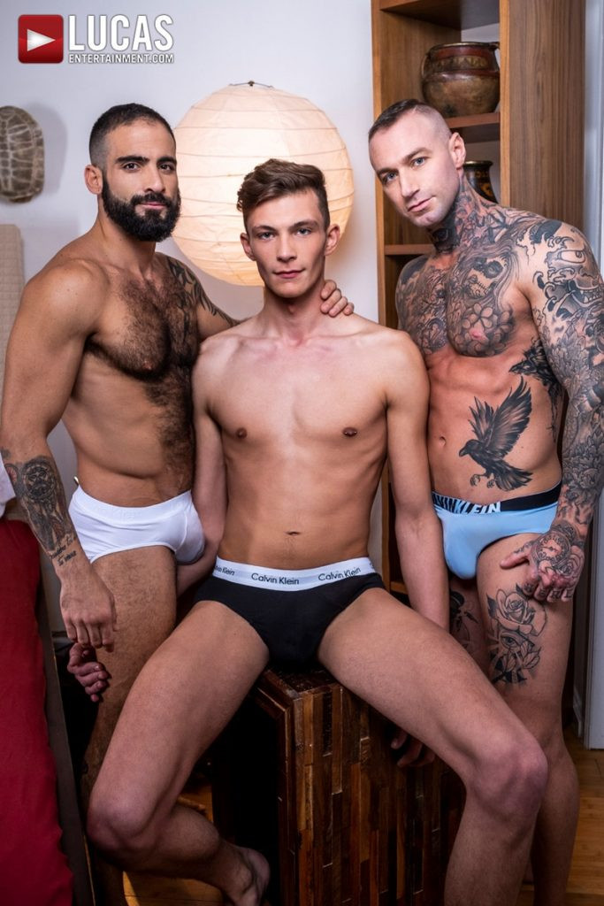 Hot newbie young stud Braxton Boyd spit roast Edji Da Silva Dylan James huge dicks LucasEntertainment 001 Gay Porn Pics 683x1024 - Dylan James, Edji Da Silva, Braxton Boyd
